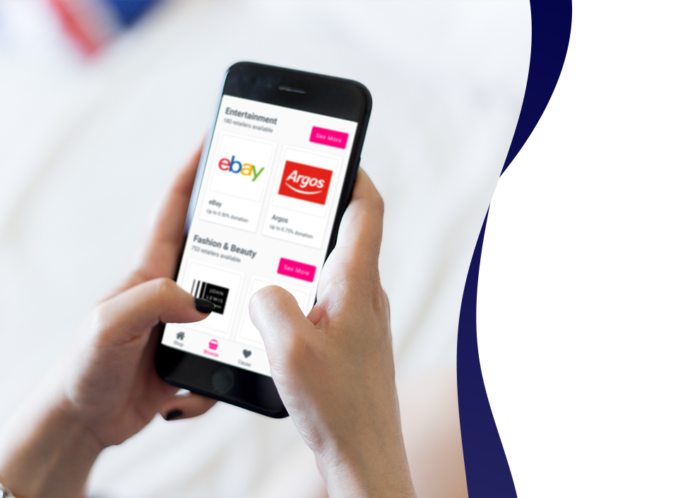 Image of a person using Easyfundraising app