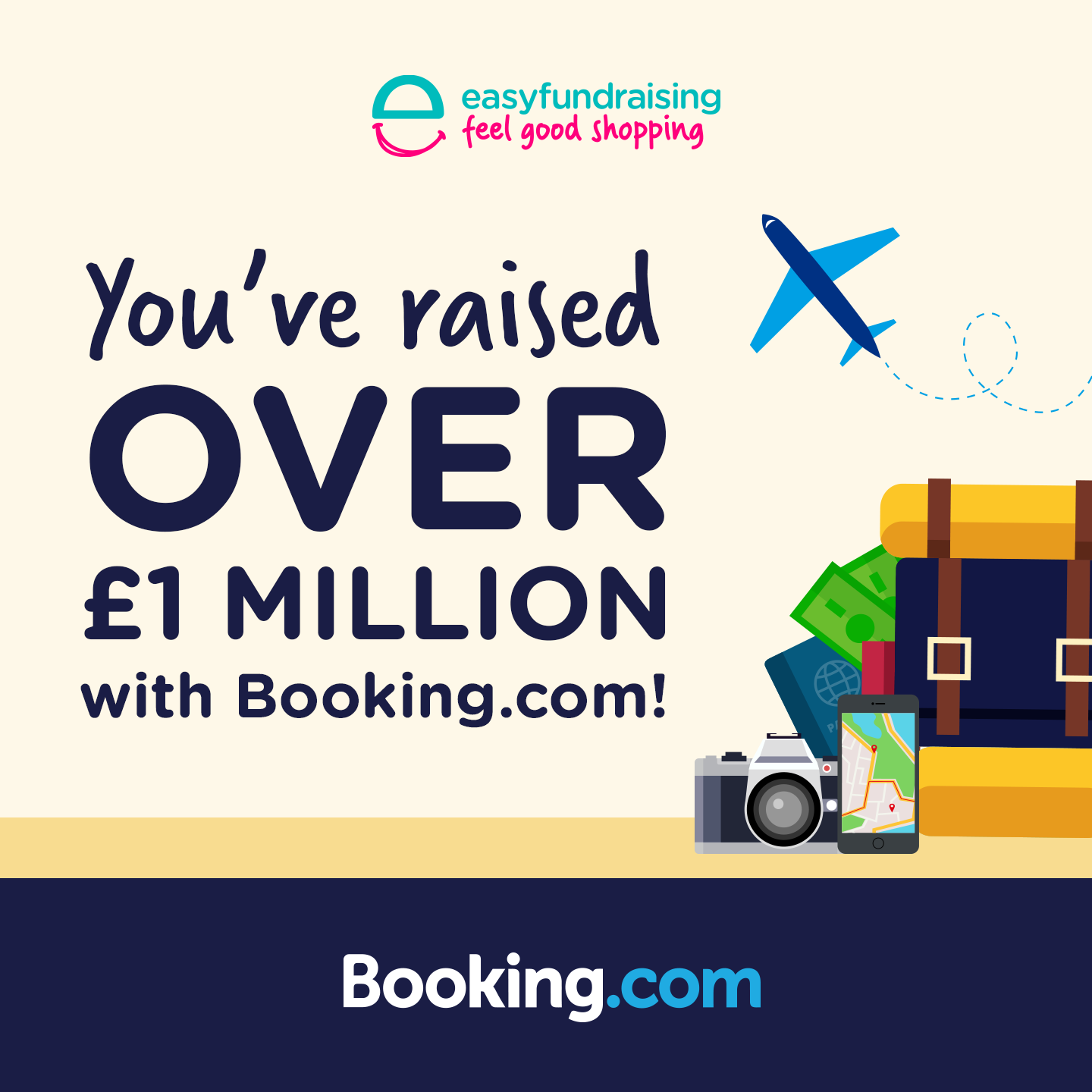 You've raised over £1 million with Booking.com